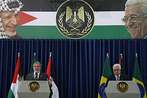 Photo of Mahmoud Abbas and Brazilian President Lula da Silva in a joint press conference