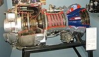 Vista en corte de un Lycoming T-53, un motor turboeje diseñado en los años 1950 utilizado en varios tipos de helicópteros.