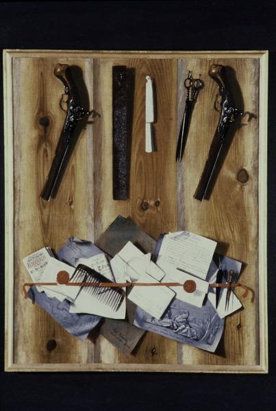 File:Målning, trompe l'oeil stilleben, Carl Hofverberg 1737 - Livrustkammaren - 81376.tif