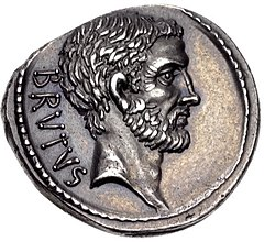 Coin depicting bearded man with stern expression facing right