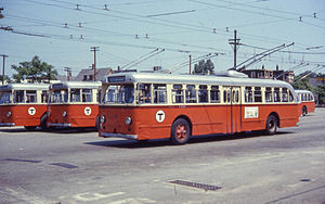 Trolleybuses in Greater Boston - Pullman-Standard trolleybuses at North Cambridge Carhouse in 1967