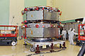MMS observatories 1 and 2 stacked for shock testing.jpg