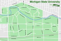 MSU's main campus lies north of the CN Railroad.