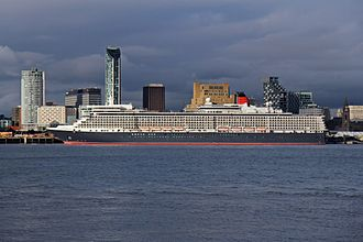 MS Queen Elizabeth - Queen Elizabeth at Liverpool Cruise Terminal, on 25 May 2015, after the Cunard 175 celebration