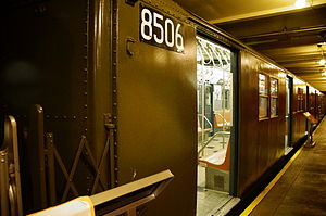 R30/A (New York City Subway car) - R30 car 8506 on display at the New York Transit Museum.