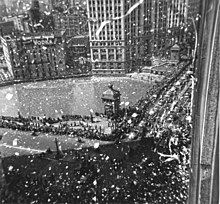 A euphoric ticker-tape parade for MacArthur took place in Chicago on April 26, 1951. MacArthur is in the second car about to turn off the Michigan Avenue Bridge renamed Jean Baptiste Point du Sable Bridge in 2010). His car was a bright red convertible.