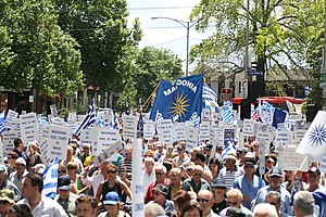 Macedonia naming dispute - Macedonian Greeks protest in a rally in Melbourne in April 2007, holding signs descriptive of the historical concerns around the naming dispute and others with the Vergina sun.