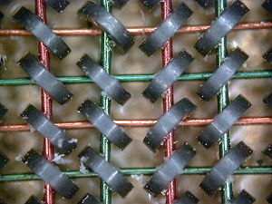 Maxwell's equations - Magnetic core memory (1954) is an application of Ampère's law. Each core stores one bit of data.