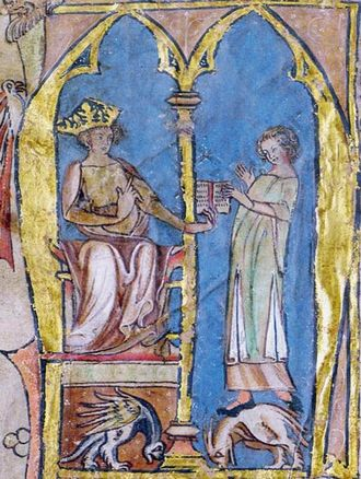 Magnus VI of Norway - Magnus giving his national law to a lawman, illumination from the 14th century Codex Hardenbergianus.