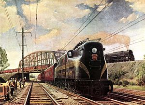 Pennsylvania Railroad class J1 - J1 locomotive (upper right) hauling freight on the PRR's low-grade line in 1949