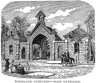 Woodland Cemetery (Cleveland) - Woodcut depicting the 1870 Woodland Avenue gatehouse.
