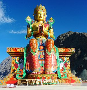 Shyok River - 35 metre statue of Maitreya Buddha facing down the Shyok River towards Pakistan.