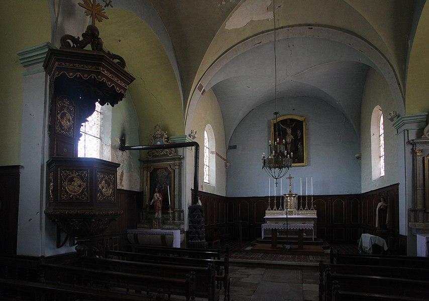 Intérieur de l'église de Malans (Doubs).