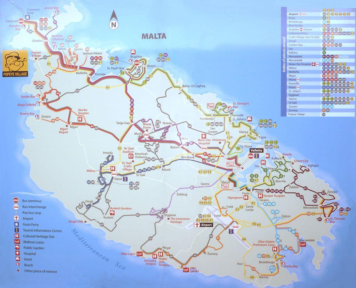 List of bus routes in malta wikipedia for Plan de malte