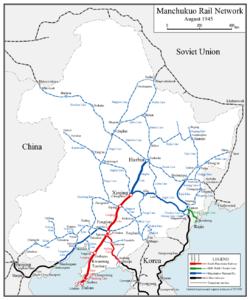 Map of the railway network of Manchukuo