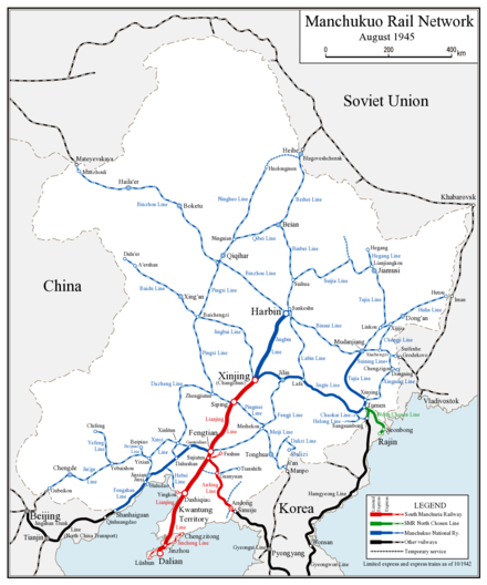 満州鉄道線地図(英語)、赤はシー線、青は全国線、緑は北線