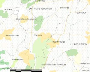 Beaulieu, Hérault - Map