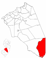 Bass River Township highlighted in Burlington County. Inset map: Burlington County highlighted in the State of New Jersey.