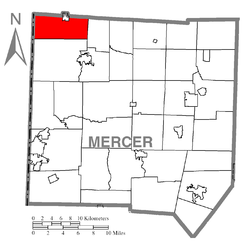 Location of Greene Township in Mercer County
