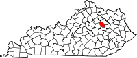 Map of Kentucky highlighting Montgomery County