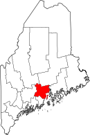 Map of Maine highlighting Waldo County