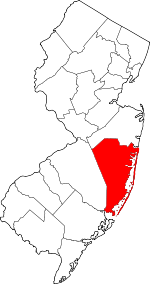 Map of New Jersey highlighting Ocean County.svg