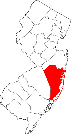 Map of New Jersey highlighting Ocean County