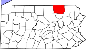 Map of Pennsylvania highlighting Bradford County