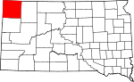 State map highlighting Harding County