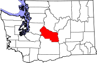 Map of Washington highlighting Kittitas County