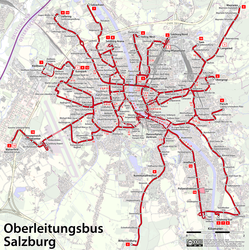 Map of the Salzburg trolleybus