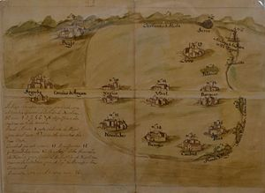 Jérica -  Map Jerica general term, which appear drawn all populations and the road of Aragon (1717).