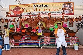 Mole sauce - Selling mole mixes at the Feria Nacional del Mole in San Pedro Atocpan