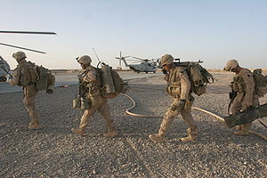 Operation Strike of the Sword - Marines from 2nd Battalion, 8th Marines boarding CH-53 helicopters at the start of the operation.