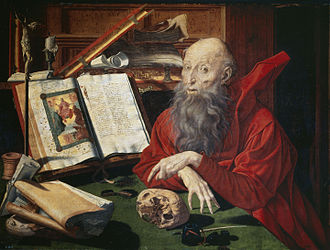 St. Jerome in his Study, by Marinus van Reymerswaele, 1541. Jerome produced a 4th-century Latin edition of the Bible, known as the Vulgate, that became the Catholic Church's official translation. Marinus Claesz. van Reymerswaele 002.jpg