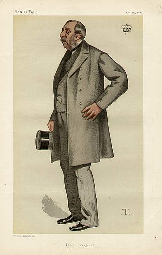 "Ernest Brudenell-Bruce, 3rd Marquess of Ailesbury - ""Three Dowagers"". The Marquess of Ailesbury as caricatured by Théobald Chartran in Vanity Fair, October 1880."