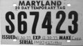 Maryland temporary tag, Chevrolet (December 1977).png