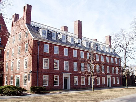 Massachusetts Hall (1720) is the oldest building on the Harvard campus. Massachusetts Hall, Harvard University.JPG