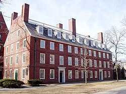 Massachusetts Hall, oldest surviving building at Harvard University, built 1718-1720 as a dormitory