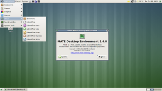 Desktop metaphor - MATE desktop environment running on Debian showing the desktop, application menu, and about MATE window