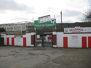 Athletic Ground (Scarborough) - The gates at the entrance to the old stadium.