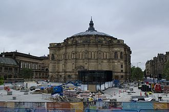 McEwan Hall - McEwan graduation hall during latter stages of refurbishment of Bristo Square, University of Edinburgh.