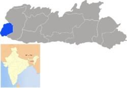 Location of South West Garo Hills district in Meghalaya