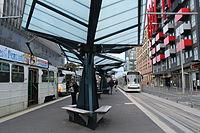 Melbourne University tram stop, looking north, 2013 (1).JPG
