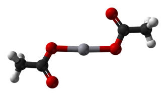 Mercury(II) acetate - Image: Mercury(II) acetate from xtal 1973 3D balls A