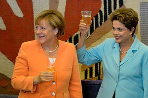 Brazil–Germany relations - Angela Merkel and Dilma Rousseff during a lunch at Itamaraty Palace (Wilson Dias/Agência Brasil)