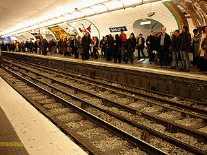 Paris Métro Line 13 - Saint-Lazare station at rush hour