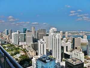 The northern end of the Brickell skyline looking towards the Miami River