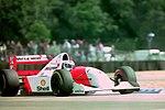Michael Andretti - Mclaren MP4-8 during practice for the 1993 British Grand Prix (33302761150).jpg