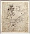 Michelangelo buonarroti, studio di braccia per l'ebbrezza di noè della cappella sistina, 1508-09 ca., retro con cavallo, cavalieri e torso maschile.jpg